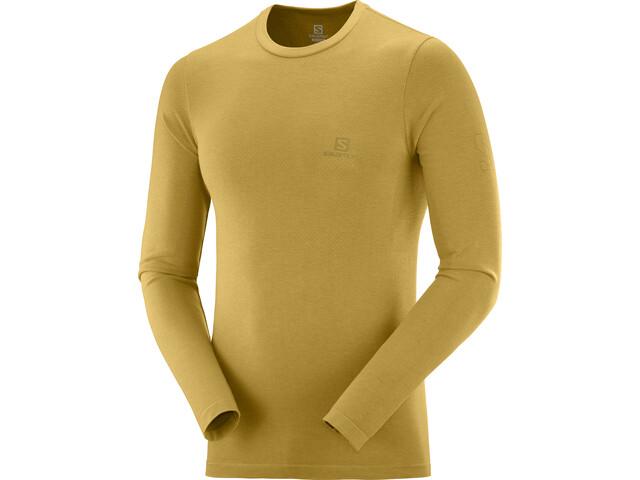 Salomon Outline Camiseta Cuello Barco sin Costuras Hombre, amarillo